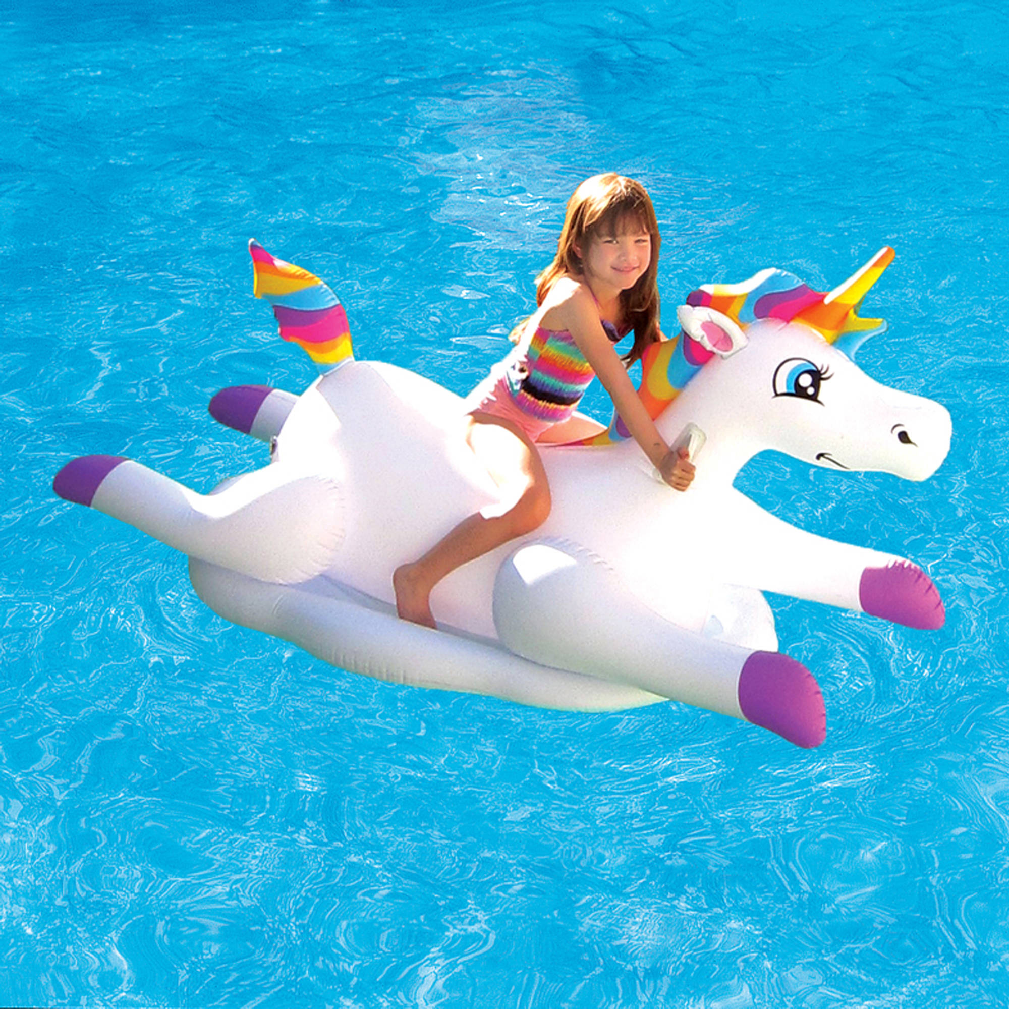 Cloud Rider Rainbow Unicorn Inflatable Ride-On Pool Float