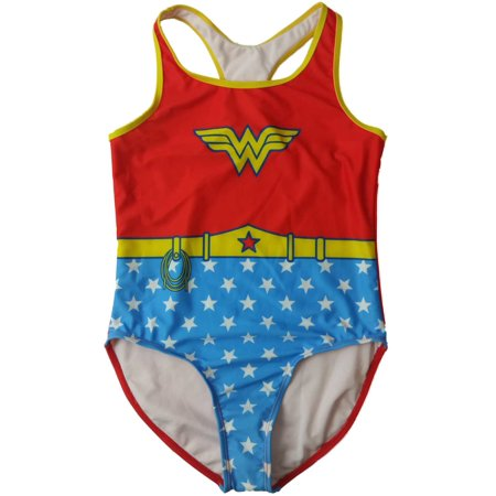 Girls DC Wonder Woman Super Hero Costume Red & Blue Swimming Suit One Piece - Wonder Woman Costume Pieces