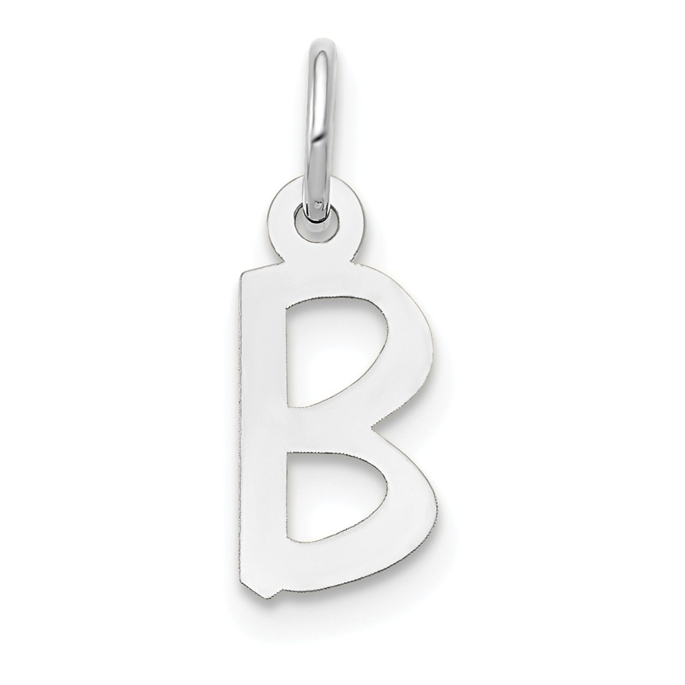 Solid 14k White Gold Small Slanted Block Initial Letter T Alphabet Charm 15mm
