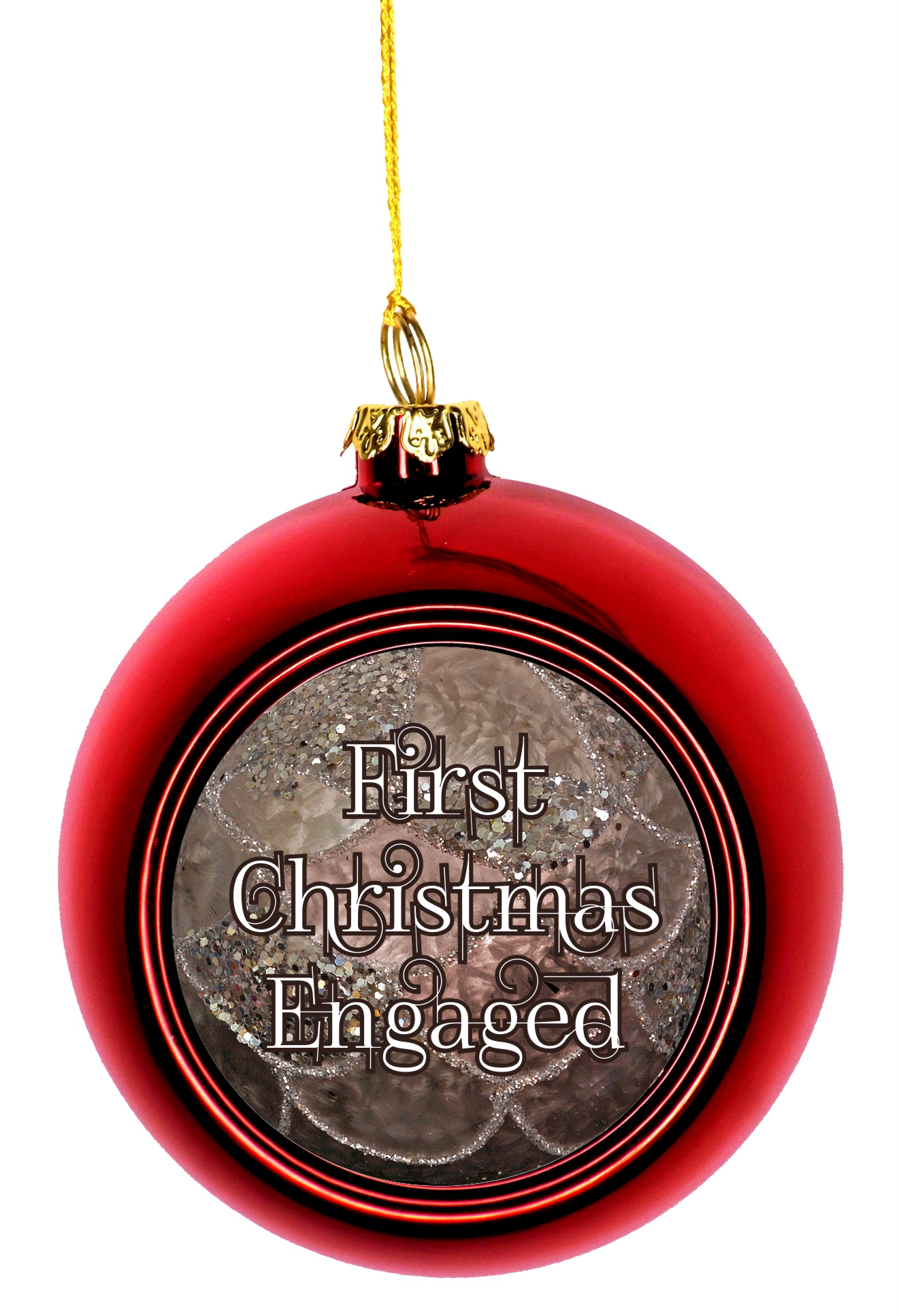 Ornaments Engagement 1st Christmas Engaged 1st Ornaments Red Bauble Christmas Ornament Balls