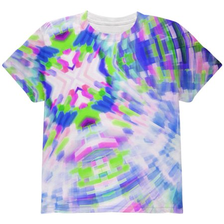 EDM DJ Retro Gamer Acid Trip All Over Youth T Shirt Multi YSM