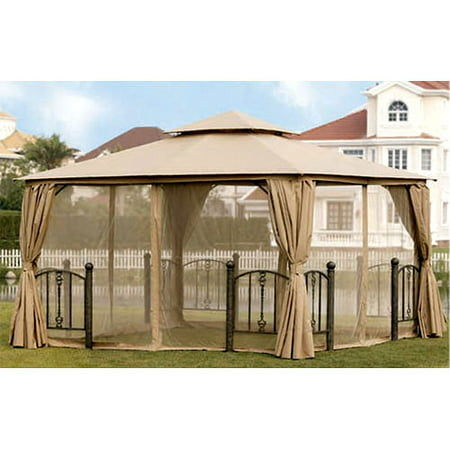 Garden Winds Replacement Canopy Top and Side Mosquito Netting Set for the Kilpatrick Lane 12 x 12 Gazebo - Riplock 350