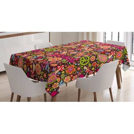 Groovy Mushroom (70s Party Decorations Tablecloth, Groovy Peace and Love Composition Mushrooms Flowers Joyful Vivid, Rectangular Table Cover for Dining Room Kitchen, 60 X 90 Inches, Multicolor, by Ambesonne )