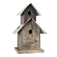Benjara BM208377 Corrugated Metal Top Double Deck Wooden Bird House - Brown & Gray