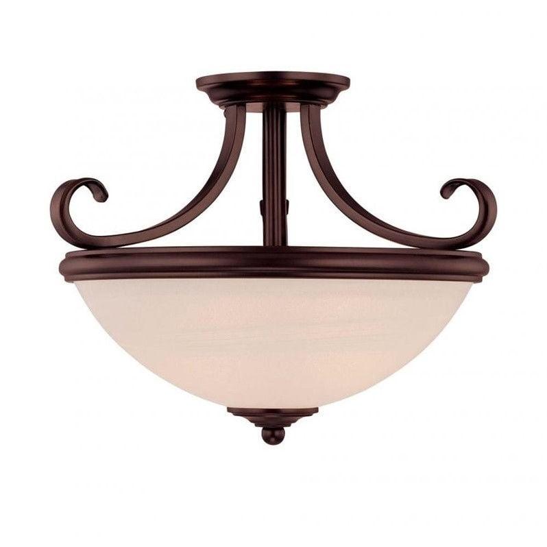 Two Light English Bronze Cream Marble Glass Bowl Semi-Flush Mount