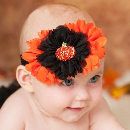 HiCoup Lovely Pumpkin Rhinestone Cloth Flower Baby Girl Headband Halloween Hair Decor