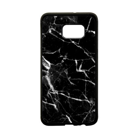 Black and White Marble Print Design Black Rubber Thin Case TPU Cover for the Samsung Galaxy s6 Edge - Samsung Galaxy s6 Edge Accessories - Galaxy s6 Edge Case
