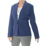 NINE WEST Womens Navy One Button Shawl Collar Stretch Jacket Plus  Size: 22W