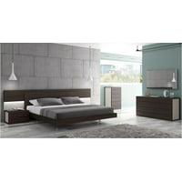 Modern Wenge Veneer & Light Grey Lacquer King Size Platform Bed 3Pcs J&M Maia