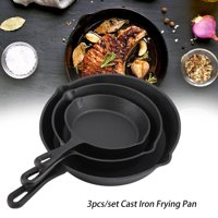 HERCHR Cooking Pan, Cookware, 3pcs/Set 16cm 20cm 25cm Cast Iron Frying Pans Cookware Pots Household Kitchen Cooking Tool-Mother's Day Gift