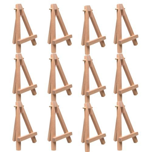 "12 Pack of US Art Supply® 5"" Mini Wood Display Easel Natural Wood Finish Picture"