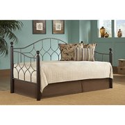 Fashion Bed Group Bianca Metal and Wood Twin Daybed, Hammered Pewter/Espresso
