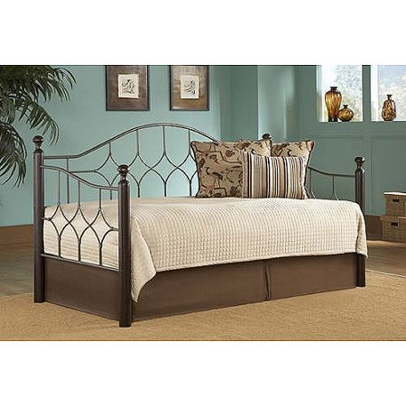 Fashion Bed Group Bianca Metal and Wood Twin Daybed, Hammered Pewter/Espresso ()