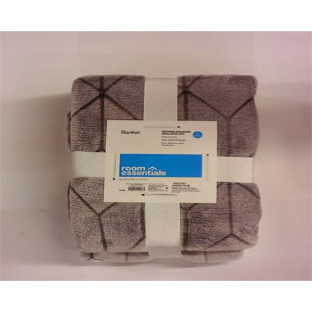 Room Essentials Micromink Printed Blanket - Flat Gray