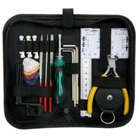 ammoon Guitar Repairing Maintenance Cleaning Tool Kit Includes String Action Ruler & Gauge Measuring Tool & Hex Wrench Set & Files & String Winder  & Picks Bag for Guitar Ukulele Bass Mandolin Banjo