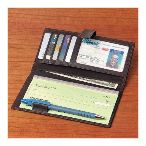 Winn International Cowhide Nappa Leather Checkbook / Secretary