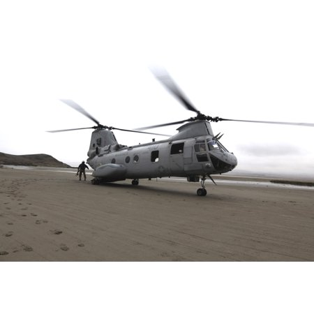 A Ch 46 Sea Knight Helicopter Transports Marines To A Beach In Ancon Peru Canvas Art   Stocktrek Images  35 X 23