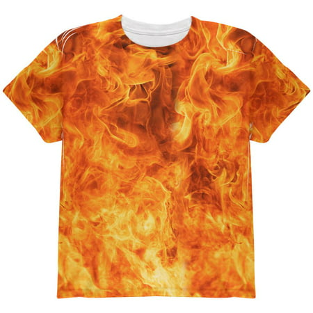 Flames Fire Costume Halloween All Over Youth T Shirt - Youth Football Costumes