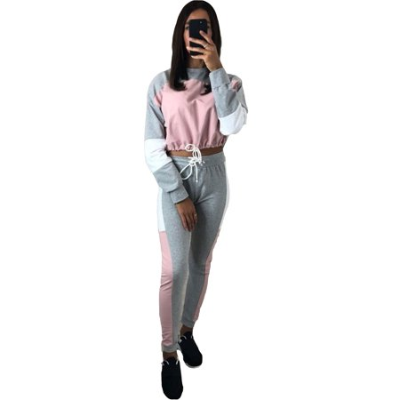 2PCS Women's Activewear Tracksuits Sets Long Sleeve Sweatshirt Crop Top Pants Outfits Lounge Wear Patchwork Gym Jogging Sportswear Joggers Casual Suit (Womens Outfits)