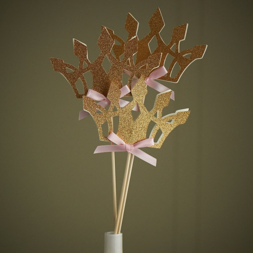 Pink and Gold Birthday Party Decoration. Handcrafted in 1-3 Business Days. Princess Crown Wands. Tiara Centerpiece 5CT.