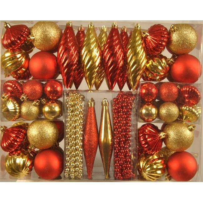 Queens of Christmas WL-ORNKIT-90-GO/RE 90 Piece Red and Gold Mini Ornaments - 2. 3