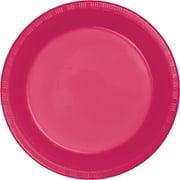 Hot Magenta Plastic Plates, 20-Pack