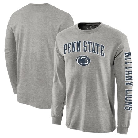 Penn State Logo Square - Penn State Nittany Lions Fanatics Branded Distressed Arch Over Logo Long Sleeve Hit T-Shirt - Gray