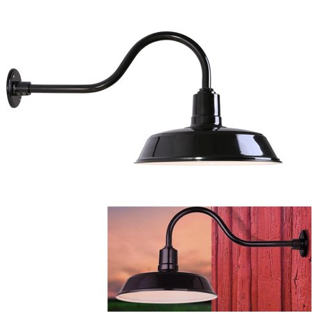 exterior outdoor barn light fixture farmhouse industrial vintage gooseneck sconce aluminum 16. Black Bedroom Furniture Sets. Home Design Ideas