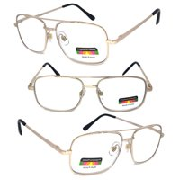 51c68821925 Product Image 1 Pair Metal Frame Aviator No Line Progressive Trifocal Clear  Lens Spring Hinge Reading Glasses -