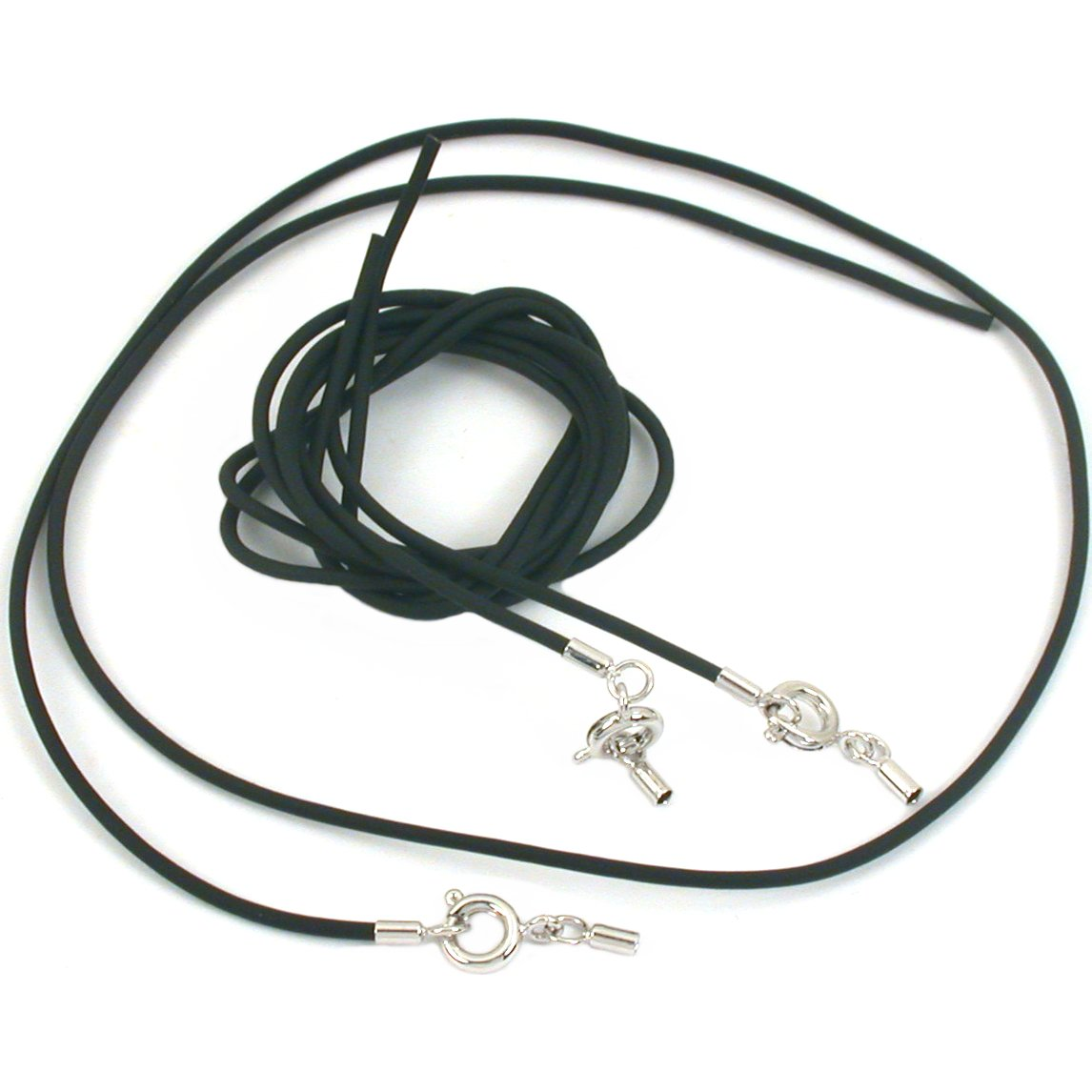 3 Add A Bead Black Rubber Necklace Beading Cord 18""