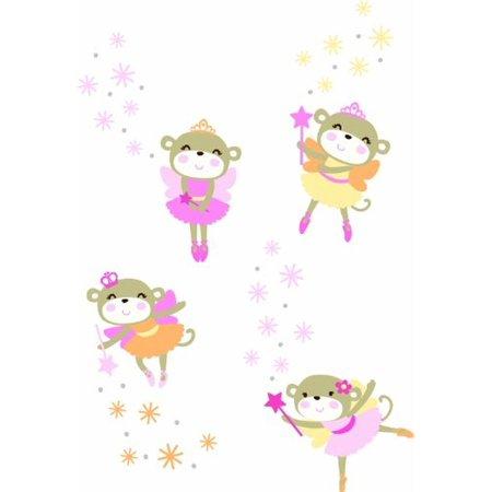 Fairies Stick (Carters Fairy Monkey Self Stick Nursery Wall Decal Set Pink)