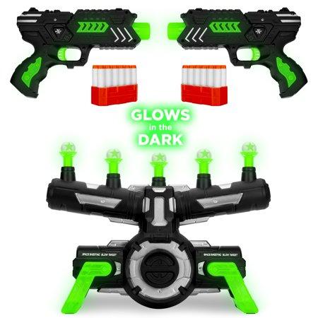 Best Choice Products Glow-in-the-Dark Foam Dart Gun Blasters & Floating Target Set w/ 24 Darts, 2 Guns & Dart Clips,