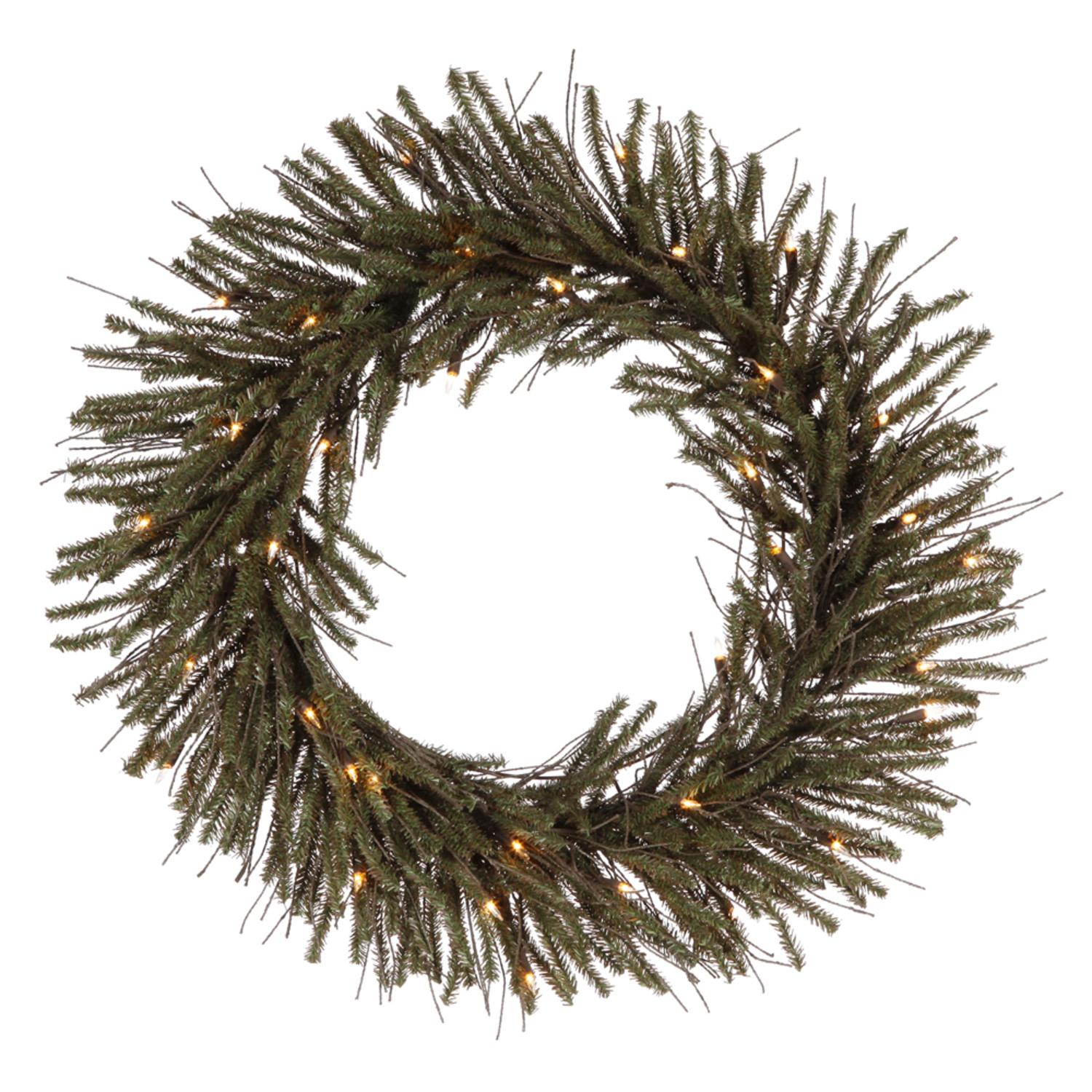 "30"" Pre-Lit Vienna Twig Artificial Christmas Wreath - Clear Lights"