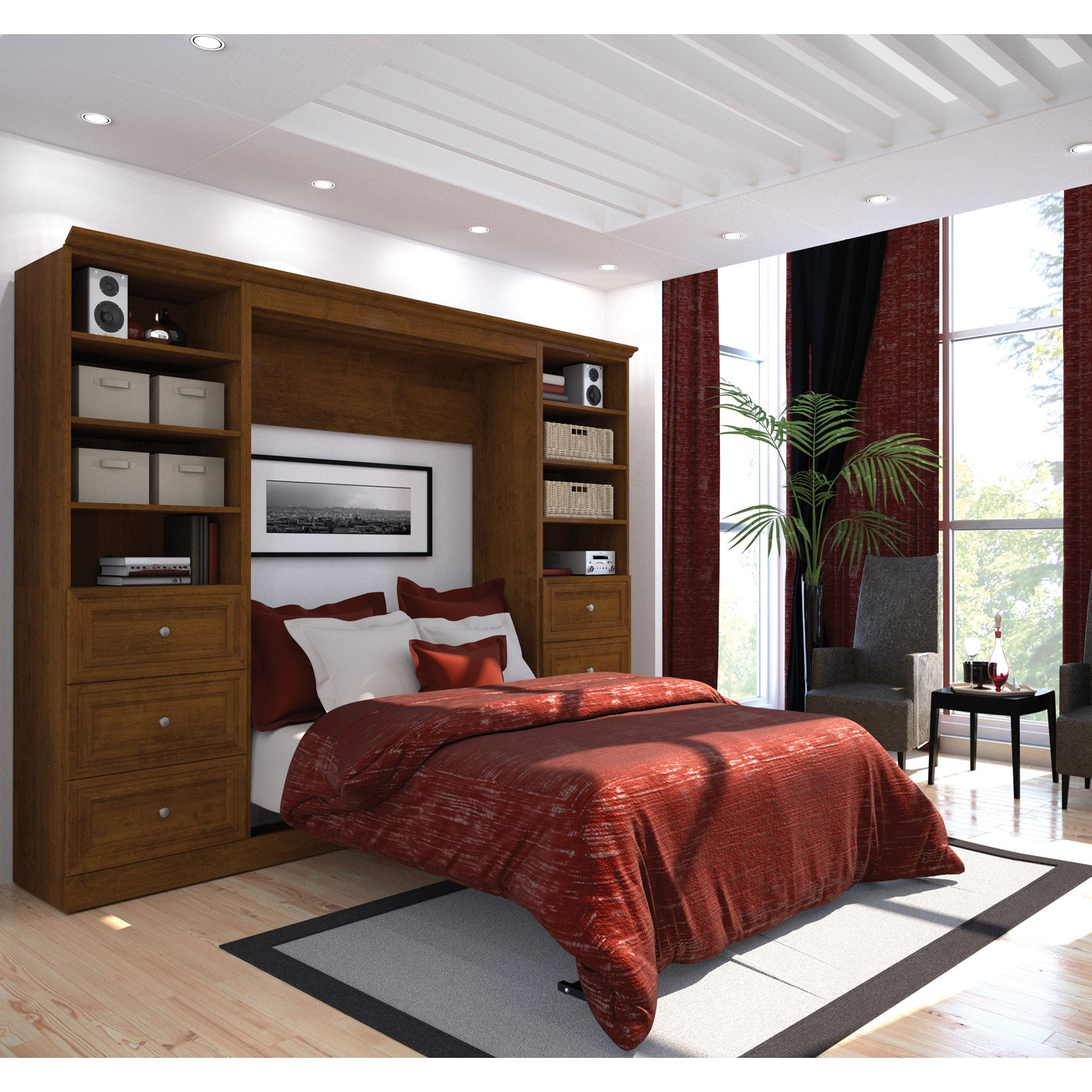 Versatile by Bestar 109'' Full Wall bed kit in Tuscany Brown