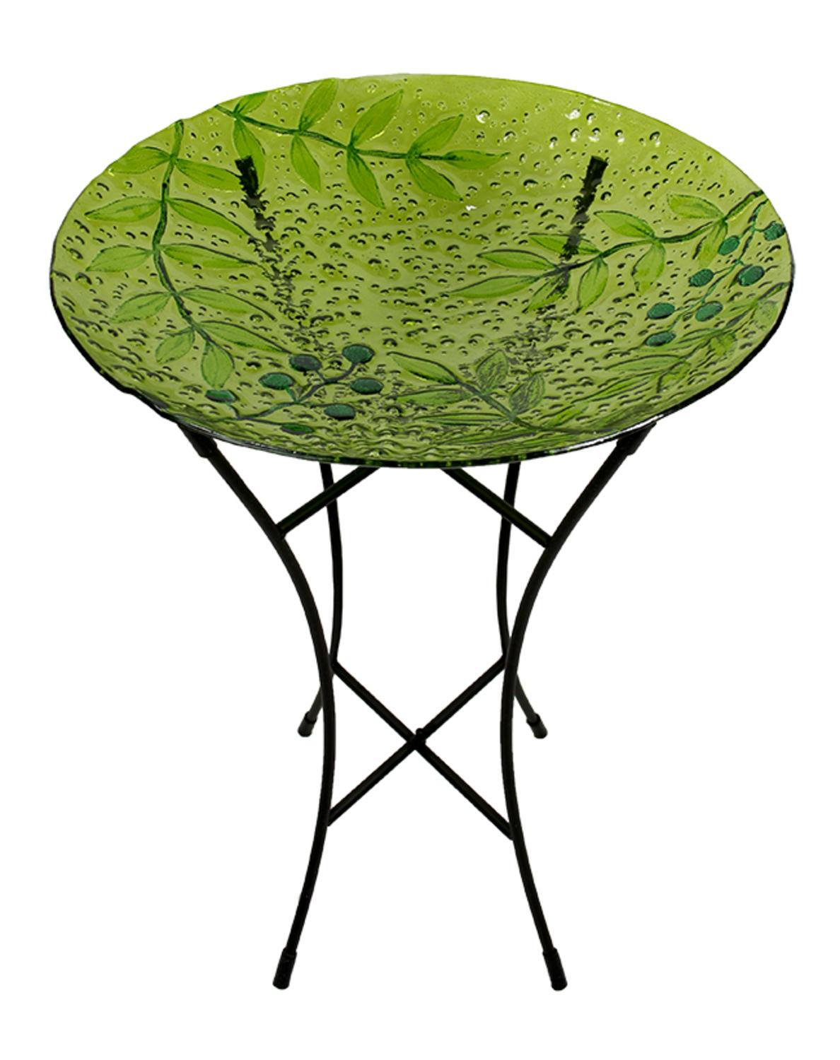 "21"" Hand Painted Glass Green Leaves and Berries Spring Outdoor Garden Birdbath by CC Outdoor Living"