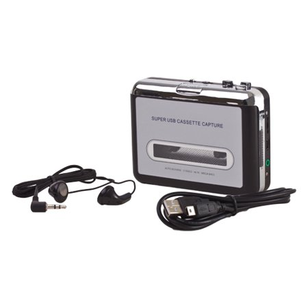 Usb Cassette To Mp3 Converter Portable Super Tape To Pc Player Digital File Audio Capture To Playback On Ipod Or Burn To Cd With Usb 2 0 Cable Headphones And Software