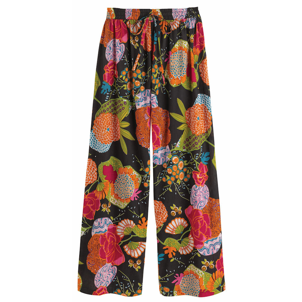 Women's Techni-Color Floral Printed Black Cotton Pajama Bottoms