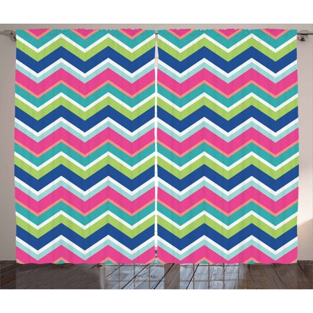 Colorful Curtains 2 Panels Set, Vintage Inspirations Colorful Chevron Pattern Abstract Angled Lines Herringbone, Window Drapes for Living Room Bedroom, 108W X 96L Inches, Multicolor, by - Herringbone Brick Pattern