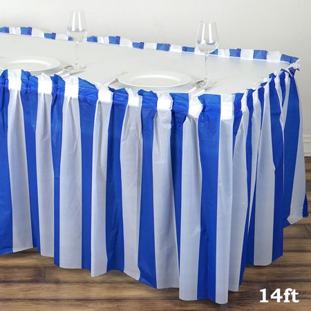 BalsaCircle 14 feet x 29-Inch Plastic Stripe Banquet Table Skirt - Wedding Party Trade Show Booth Events Linens Decorations (Party City Table Skirts)