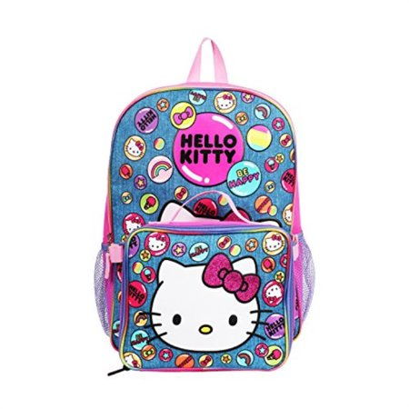 Hello Kitty Denim Blue Backpack with Insulated Lunch Kit for Girls