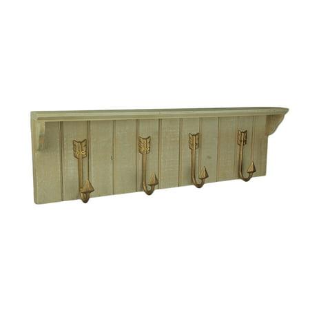 Decorative Slat Wood Wall Shelf With Curved Arrow Hooks