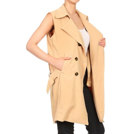 Womens Sleeveless Double Breasted Long Belted Trench Coat Jacket Tops