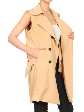 83d605e34cb0e Product Image Womens Sleeveless Double Breasted Long Belted Trench Coat  Jacket Tops