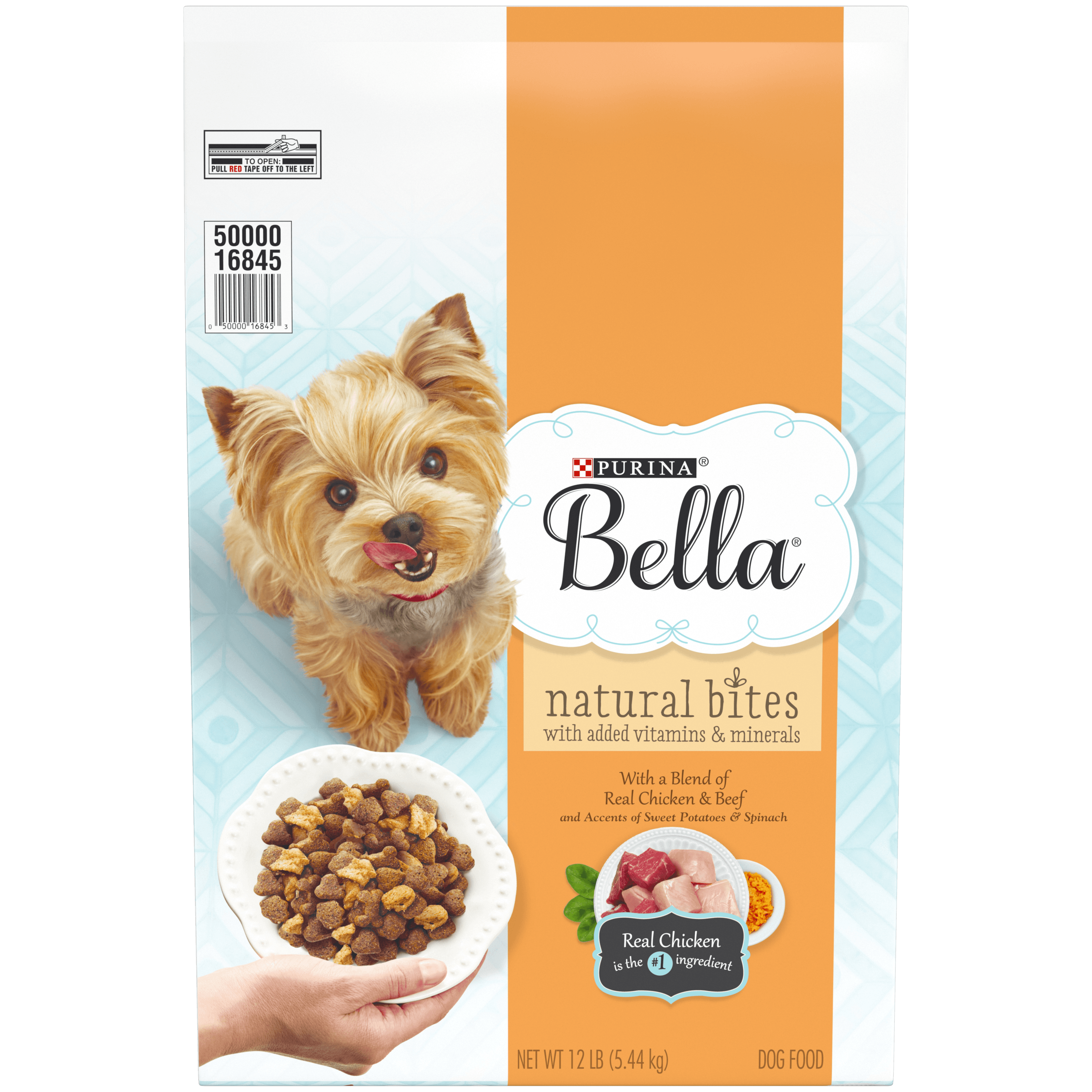 Purina Bella Natural Small Breed Dry Dog Food; Natural Bites With Real Chicken & Beef - 12 lb. Bag