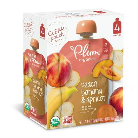 Plum Organics Stage 2 Peach, Banana   Apricot, 4oz (Pack of 4) - Walmart.com 3105e2e4c7