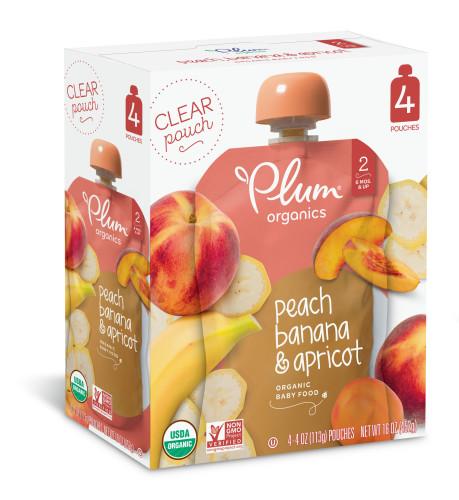 Plum Organics Stage 2 Peach, Banana & Apricot, 4oz (Pack of 4)
