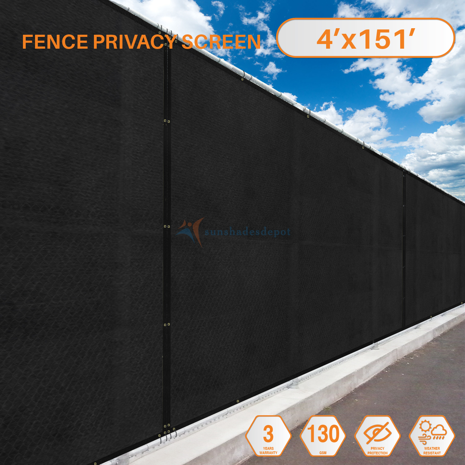 4' Feet x 151' Feet Solid Black Commercial Privacy Fence Screen Custom Available 3 Years... by Sunshades Depot
