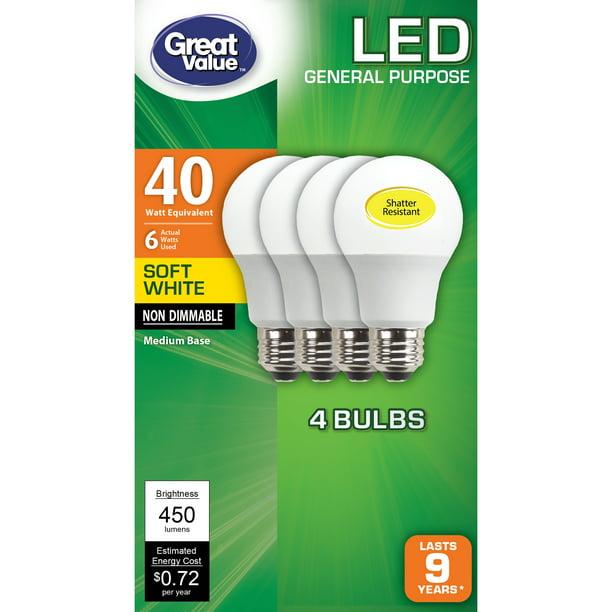 Great Value Led Light Bulb 6 Watts 40w Equivalent A19 General Purpose Lamp E26 Medium Base Non Dimmable Soft White 4 Pack Walmart Com Walmart Com