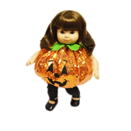 Sequin Pumpkin Halloween Costume for American Girl Dolls Bitty Twins - Twin Costumes