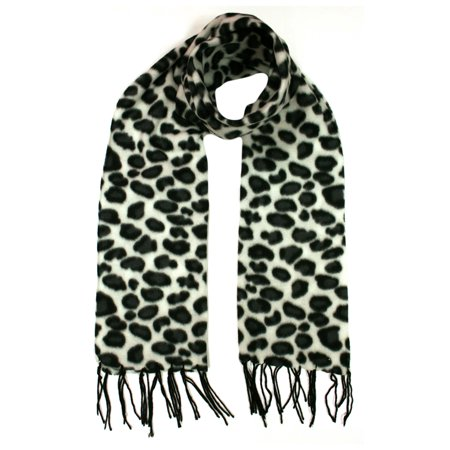 Black & White Animal Print Long Fleece Scarf